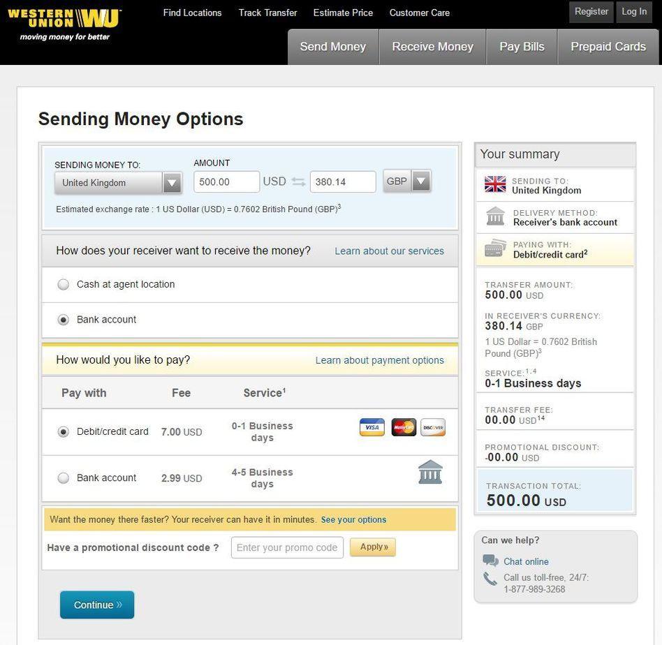 hướng dẫn chuyển tiền qua Western union