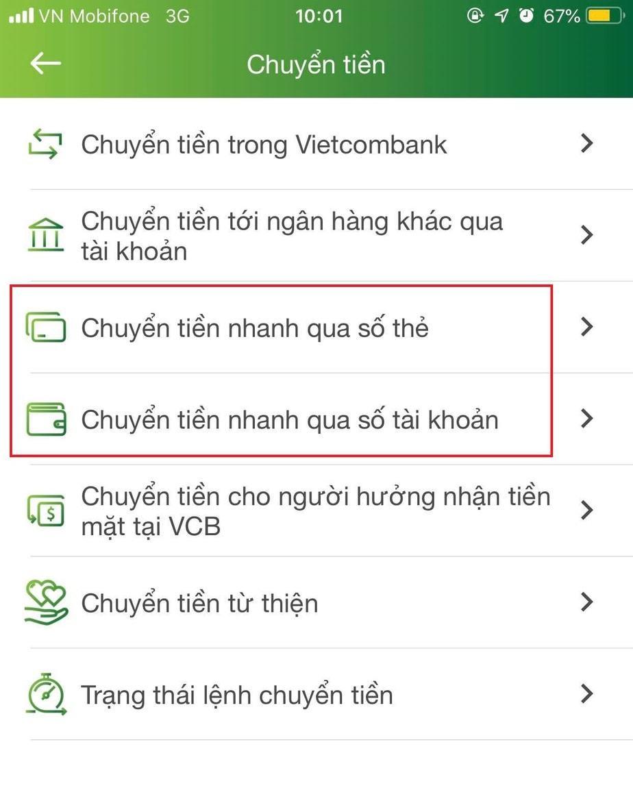Chuyển tiền qua số thẻ Vietcombank