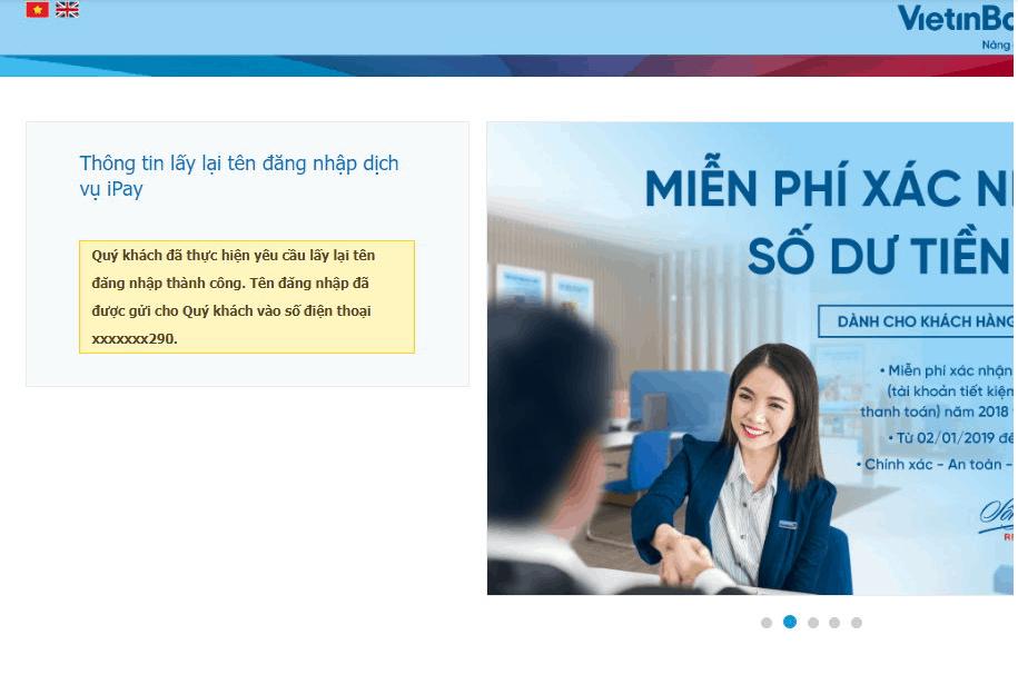 Cách lấy lại tên đăng nhập vietinbank ipay