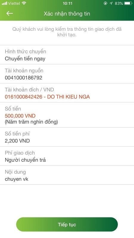 Phí chuyển tiền qua Vietcombank
