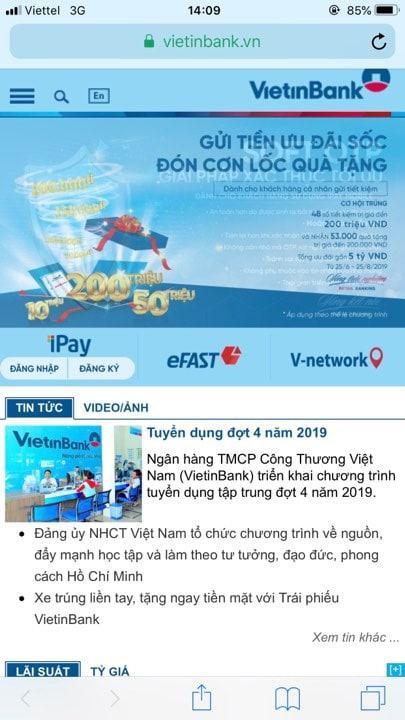 Quên mật khẩu Vietinbank ipay trên điện thoại