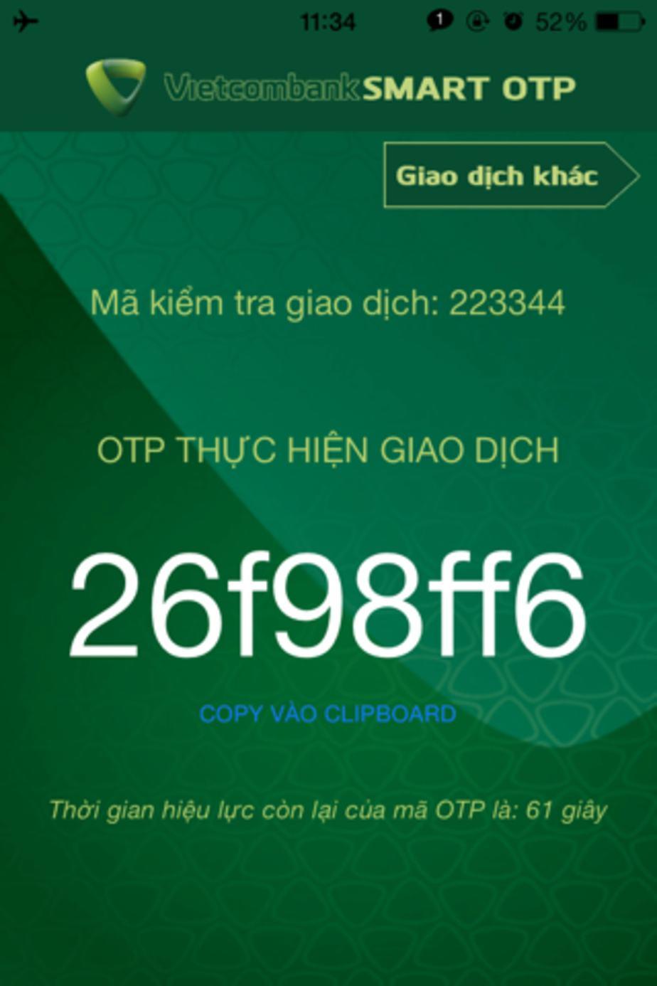 Mã giao dịch Smart OTP