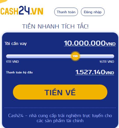 vay tiền qua cash24