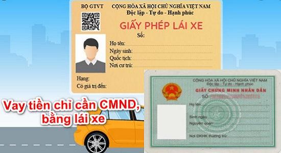 vay tiền bằng cmnd gplx