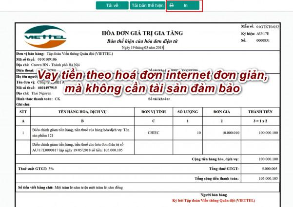 Vay tiền theo hoá đơn internet